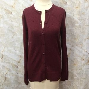 A NEW DAY Embellished Cardigan Sweater M Burgundy